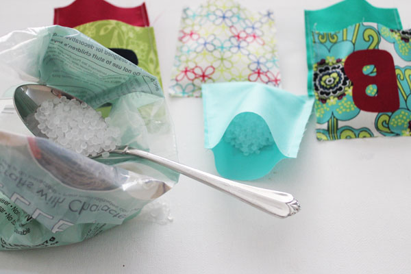 Fill pockets with poly beads