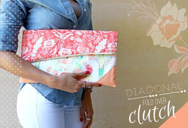Tutorial: Diagonal Fold Over Clutch - Art Gallery Fabrics - The ...