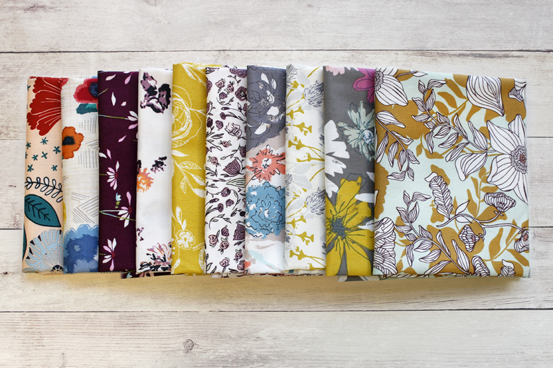 Floral fabrics on wood