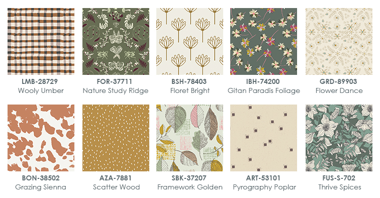 Fall fabrics swatches