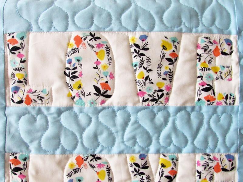 Love quilt close up