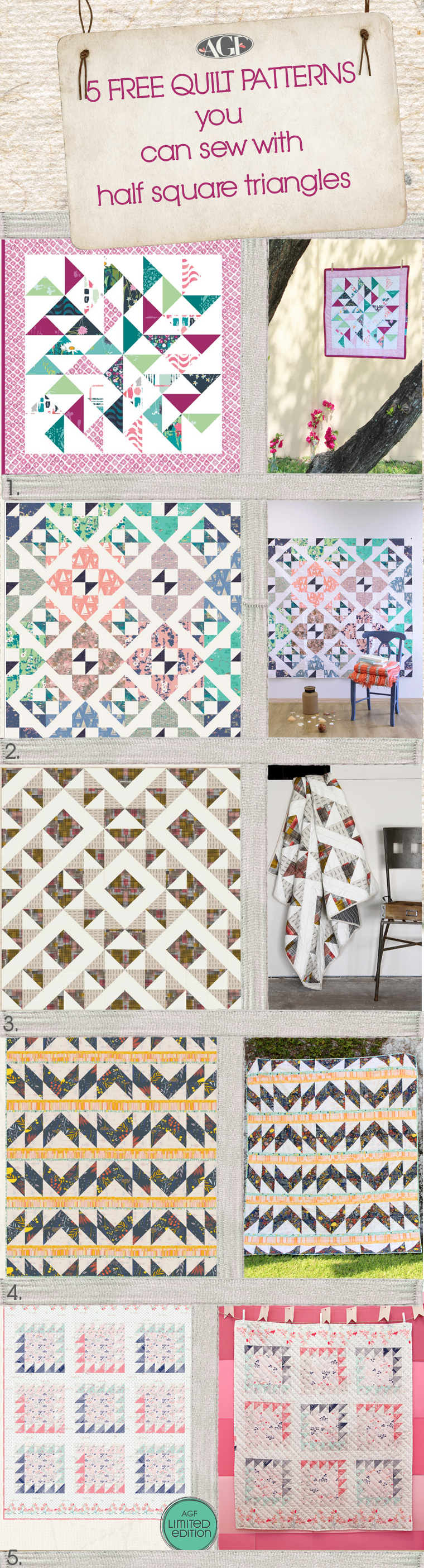 5 Free Quilt Patterns You Can Sew With Half Square Triangles Hst