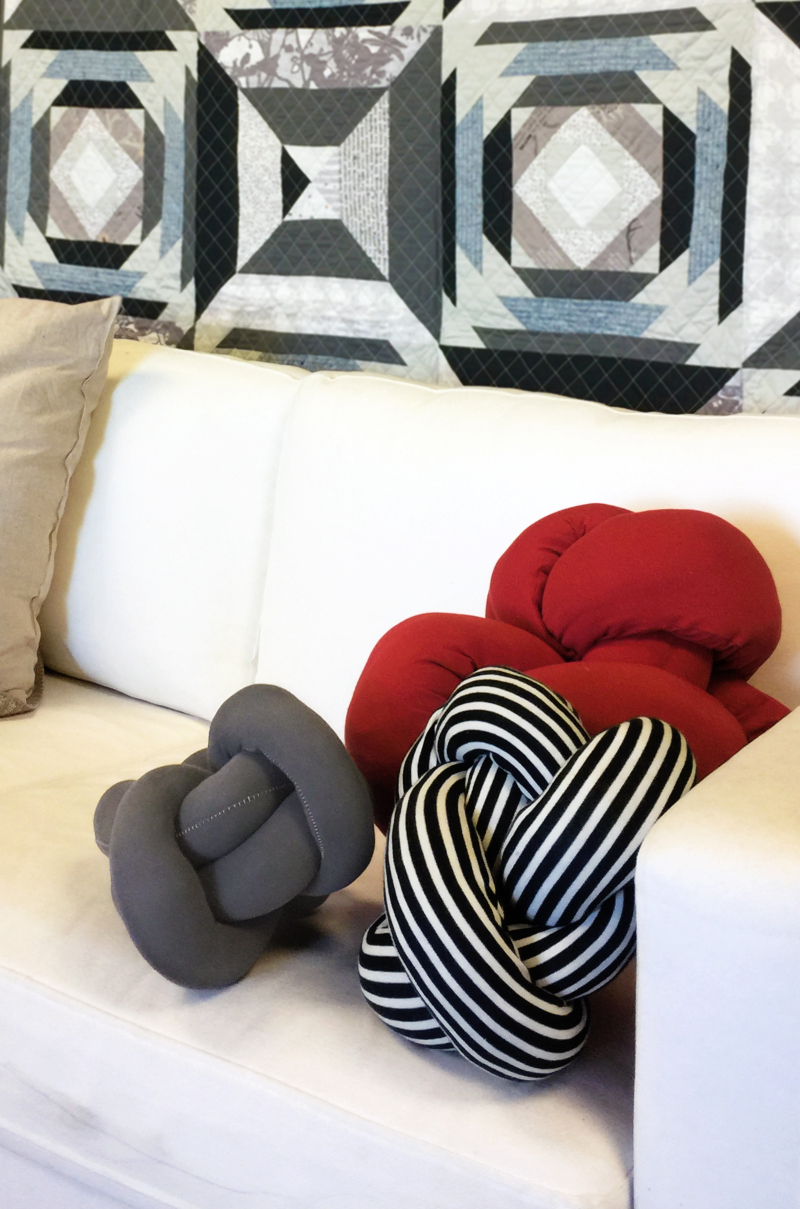 Striped Knits Knot Pillow 1