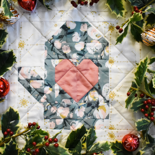 Quiltmas Day 12 Broadcloth Studio Heart in Hand Quilt Block